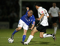 Photo: Rich Eaton.<br /> <br /> Hereford United v Leicester City. Carling Cup. 19/09/2006. Iain Hume left of Leicester and Herefords Martyn Giles