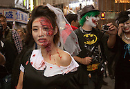 October 29, 2016, Tokyo, Japan: In the Shibuya district, the heart of Japanese youth culture, Halloween celebrations have exploded in the past few years. Up until this boom, Halloween celebrations were minimal across the city. But Shibuya has now become Halloween central with tens of thousands of costumed party goers invading it's streets to promenade en-costume or hit club events in the area. This informal street gathering has become so big, this year the Tokyo Metropolitan Police Dept. decided to close off two main streets adjacent to Shibuya Station. When Oct. 31 falls on a weekday, ninety percent of Halloween celebrations across Japan take place on the preceding Saturday. (Torin Boyd/Polaris).