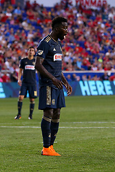 May 26, 2018 - Harrison, NJ, U.S. - HARRISON, NJ - MAY 26:  Philadelphia Union forward C.J. Sapong (17) reacts after he takes a penalty kick and misses during the second half of the Major League Soccer Game between the New York Red Bulls and the Philadelphia Union on May 26, 2018, at Red Bull Arena in Harrison, NJ.  (Photo by Rich Graessle/Icon Sportswire) (Credit Image: © Rich Graessle/Icon SMI via ZUMA Press)