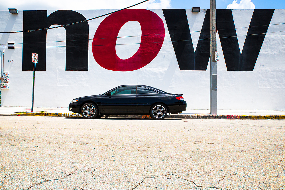 Exterior of the Now Gallery in Miami's Wynwood neighborhood as it transitions from a sun-baked industrial zone into a fashionable address.