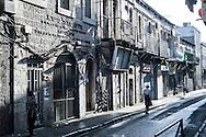 A street scene in the Mea Sharim neighborhood of Jerusalem
