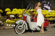 1958 Ariel Leader motorcycle made in Britian.  Sharis Fajardo modeling.
