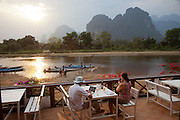 Vang Vieng, Laos. Nam Song River with karst formation mountains.