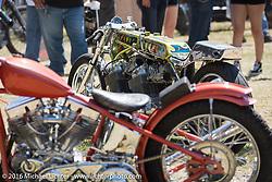 BF8 Invited builder Kiyo Mitsuhiro's twin engine Honda CB-750's drag style bike. won Best Japanese Bike at the Born Free 8 Motorcycle Show on Sunday. Silverado, CA, USA. June 26, 2016.  Photography ©2016 Michael Lichter.