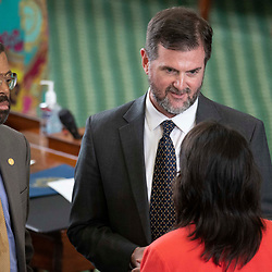 Texas Senate action on Tuesday, May 18, 2021 showing  Sen. Brandon Creighton, R-Conroe.
