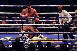 29 April 2017 - Boxing - Anthony Joshua v Wladimir Klitschko (IBF and WBA heavyweight) - Klitschko knocks down Joshua - Photo: Marc Atkins / Offside.