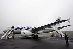 Adria's aircraft Airbus A319 at Airport Edvard Rusjan, Maribor, Slovenia, on March 28, 2011. (Photo by Vid Ponikvar / Sportida)