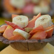 A plate of fresh cut  fruits salad Near Victoria Memorial in Kolkata, India