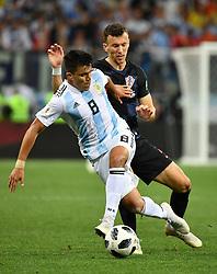 NIZHNY NOVGOROD, June 21, 2018  Marcos Acuna (L) of Argentina competes during the 2018 FIFA World Cup Group D match between Argentina and Croatia in Nizhny Novgorod, Russia, June 21, 2018. Croatia won 3-0. (Credit Image: © Li Ga/Xinhua via ZUMA Wire)