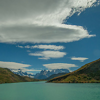 The Horns of Paine above Paine River in Torres del Paine National Park, Chile