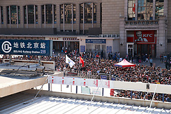 October 8, 2018 - Beijing, Beijing, China - Beijing, CHINA-People wait in long lines before they enter the subway station outside Beijing Railway Station on the last day of National Day Holiday in Beijing, China, October 7th, 2018. (Credit Image: © SIPA Asia via ZUMA Wire)