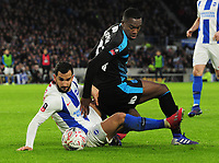 Football - 2018 / 2019 Emirates FA Cup - Fourth Round: Brighton & Hove Albion vs. West Bromwich Albion<br /> <br /> Rekeem Harper of WBA challenges Martin Montoya, at The Amex.<br /> <br /> COLORSPORT/ANDREW COWIE