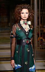 Models on the catwalk during the DDFC X FAD Dubai Fashion showcase: Amira Haroon London Fashion Week SS18 show held at Freemasons Hall, London.