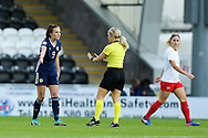 Caroline Weir (#9) of Scotland protests as she is called up fouling a foul during the 2019 FIFA Women's World Cup UEFA Qualifier match between Scotland Women and Switzerland at the Simple Digital Arena, St Mirren, Scotland on 30 August 2018.