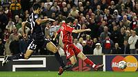 Photo: Paul Thomas.<br /> Liverpool v Bordeaux. UEFA Champions League, Group C. 31/10/2006.<br /> <br /> Luis Garcia (R) of Liverpool scores.