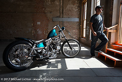 Majik Mike Rabideau with his In Motion Bike Show custom Shovelhead at the Lone Star Rally. Galveston, TX. USA. Sunday November 5, 2017. Photography ©2017 Michael Lichter.