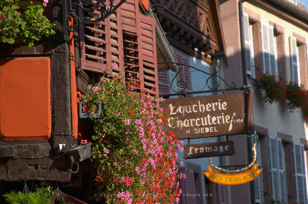 butcher shop half timbered house ribeauville alsace france