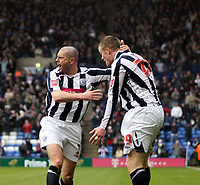 Photo: Mark Stephenson/Richard Lane Photography. <br /> West Bromwich Albion v Colchester United. Coca-Cola Championship. 29/03/2008. <br /> West Brom's Chris Brunt (R) celebrates his goal with Kevin Phillips