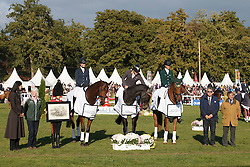 Team Irish Sport Horse, Christopher Burton, Cooley Lands, (AUS), Emma Dougall, Fernhill Tabasco, (AUS), Piggy French, Morswood, (GBR)<br /> Winners of the WBFSH World Championship Trophy of Studbooks<br /> Mondial du Lion - Le Lion d'Angers 2015<br /> © Dirk Caremans<br /> 18/10/15