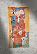 The Minoan 'Cup Bearer' from the 'Procession Fresco', wall art from the South Prpylaeum, Knossos Palace, 1500-1400 BC . Heraklion Archaeological Museum.<br /> <br /> The 'Cup Bearer' depicts a youth with long black hair, a naked torso and a richly decorated kilt carrying a large silver rhuyhon ceremonial vessel. This large Minoan fresco of many figure in procession would have decorated the corridor between the West Porch and the South Propylaeum of Knossos Palace. Both sides of the corridor were painted with hundreds of male and femal;e figures carrying precious utensils and vessels, probably depicting gift bearers to the ruler of the Palace. The composition is much like those found in the Palaces and tombs of Egypt and the near east at the time. Neopalatial final period. .<br /> <br /> If you prefer to buy from our ALAMY PHOTO LIBRARY  Collection visit : https://www.alamy.com/portfolio/paul-williams-funkystock/minoan-art-artefacts.html . Type -   Heraklion   - into the LOWER SEARCH WITHIN GALLERY box. Refine search by adding background colour, place, museum etc<br /> <br /> Visit our MINOAN ART PHOTO COLLECTIONS for more photos to download  as wall art prints https://funkystock.photoshelter.com/gallery-collection/Ancient-Minoans-Art-Artefacts-Antiquities-Historic-Places-Pictures-Images-of/C0000ricT2SU_M9w
