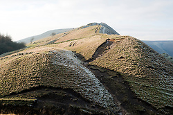 Mam Tor also known as Mother Hill or shivering Mountain near Castleton in the High Peak of Derbyshire, England..www.pauldaviddrabble.co.uk.15 January 2012.Image © Paul David Drabble