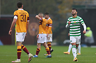 Declan Gallagher (Motherwell)  and Albian Ajeti (Celtic) continue to argue during the Scottish Premiership match between Motherwell and Celtic at Fir Park, Motherwell, Scotland on 8 November 2020.