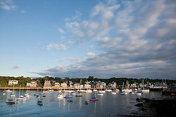 North America, United States, Massachusetts, Rockport, sailboats in cove under dramatic clouds