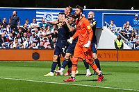 Football - 2021/2022  Sky Bet EFL Championship - Queens Park Rangers vs Millwall - Kiyan Prince Foundation Stadium - Saturday 7th August 2021.<br /> <br /> Millwalll players celebrate in front of their fans after they take the lead <br /> <br /> COLORSPORT/DANIEL BEARHAM
