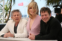 Director Roman Polanski, Actress Emmanuelle Seigner and actor Mathieu Amalric at Venus in Fur - La Venus A La Fourrure Photocall Cannes Film Festival On Saturday 26th May May 2013