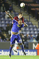 Photo: Pete Lorence/Sportsbeat Images.<br />Leicester City v Burnley. Coca Cola Championship. 10/11/2007.<br />Collins John battles for tha ball with Chris McCann.