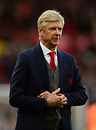 Arsene Wenger, the manager of Arsenal looking dejected after the match. Premier league match, Stoke City v Arsenal at the Bet365 Stadium in Stoke on Trent, Staffs on Saturday 19th August 2017.<br /> pic by Bradley Collyer, Andrew Orchard sports photography.