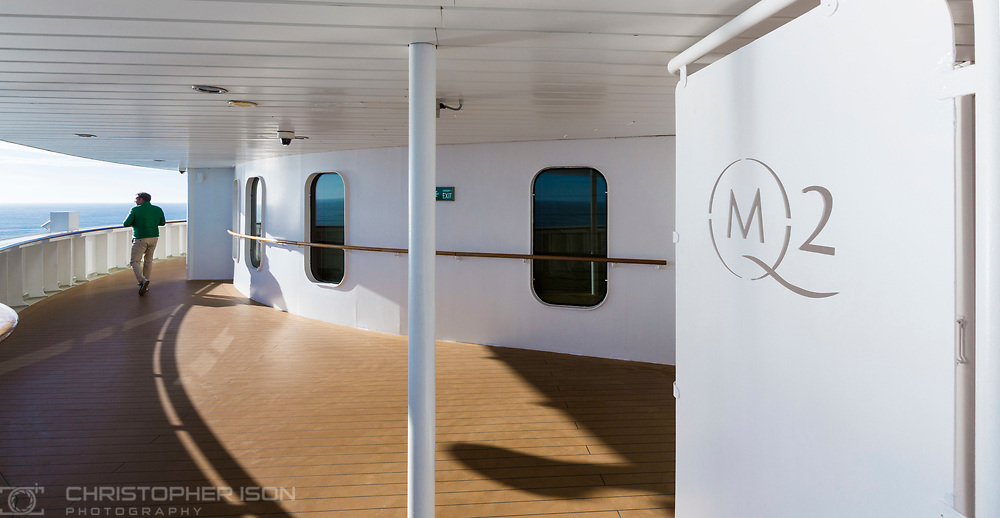 On board images at sea during the Transatlantic Fashion Week, 2017 being held on board Cunard's luxury ocean liner Queen Mary 2 currently on route to New York. <br /> Date: Tuesday September 5; 2017.<br /> For the second year running, the Transatlantic Fashion Week will bring together some of the most reputable names within the fashion industry to host seven days of runway shows, inspiring talks, glamorous dinners and exclusive unveilings. The crossing arrives in to New York on the 7th September the very same day as New York Fashion Week 2017 begins.<br /> <br /> Photograph by Christopher Ison © for Cunard.<br /> 07544044177<br /> chris@christopherison.com<br /> www.christopherison.com