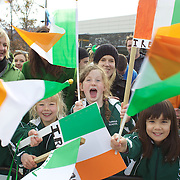 School children from Tarras School, near Wanaka greet the Irish Rugby Team as they arrive at Queenstown airport for the IRB Rugby World Cup 2011, Queenstown, New Zealand, 1st September 2011. Photo Tim Clayton...