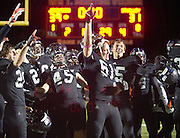 """To the tune of Neil Diamond's """"Sweet Caroline"""" blaring over the speakers, the Jackson Hole High School football team celebrates a win over their rivals Star Valley on Friday night at William T. McIntosh Stadium. The Broncs beat the Braves 39-31."""