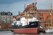 """Gdańsk, (woj. pomorskie) 18.07.2016. Statek """"Sołdek"""" - Centralne Muzeum Morskie."""