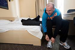 Gorazd Skof during visit in the rooms of Slovenia Men Handball team during 5th day of 10th EHF European Handball Championship Serbia 2012, on January 19, 2012 in Hotel Srbija, Vrsac, Serbia.  (Photo By Vid Ponikvar / Sportida.com)