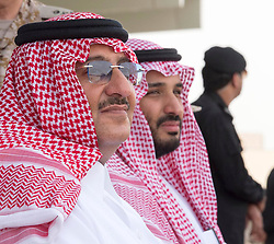 "File photo - L-R : Saudi Crown Prince Mohammed Bin Nayef and his cousin Defense Minister Mohammed Bin Salman Al Saud attend military drill ""Northern Thunder"" in Hafr Al Batin area, north of Saudi Arabia, on March 11, 2016. A new Saudi anti-corruption body has detained 11 princes, four sitting ministers and dozens of former ministers, media reports say. The detentions came hours after the new committee, headed by Crown Prince Mohammed bin Salman, was formed by royal decree. Photo by Balkis Press/ABACAPRESS.COM  