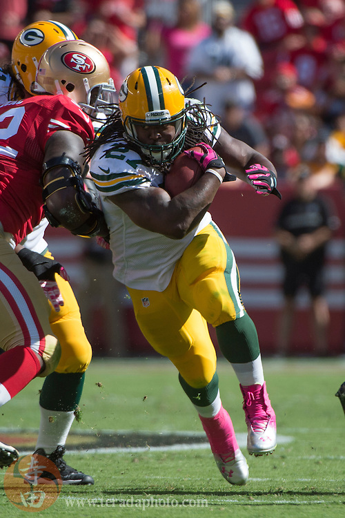 October 4, 2015; Santa Clara, CA, USA; Green Bay Packers running back Eddie Lacy (27) runs with the football during the second quarter against the San Francisco 49ers at Levi's Stadium. The Packers defeated the 49ers 17-3.