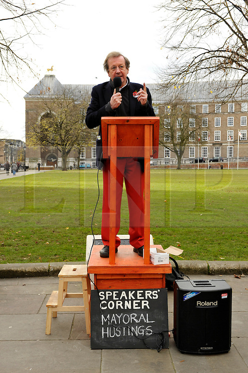 © Licensed to London News Pictures. 09/11/2012. Bristol, UK.  George Ferguson, Bristol 1st Party candidate for the election of Mayor of Bristol, at Speakers Corner event on College Green in front of Bristol's Council House.  Bristol was the only city in the UK to vote for a new mayor this year, and the election takes place on 15 November along with the election for Avon & Somerset police and crime commissioner.  09 November 2012..Photo credit : Simon Chapman/LNP