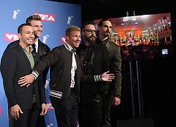 August 20, 2018 - New York City, New York, U.S. - The BACKSTREET BOYS pose for photos in the press room for the 2018 MTV 'VMAS' held at Radio City Music Hall. (Credit Image: © Nancy Kaszerman via ZUMA Wire)