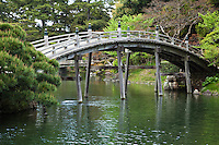 Engetsukyo Bridge at Ritsurin - a landscape garden in Takamatsu  built by the local feudal lords during the Edo Period. Considered one of the finest gardens in Japan,  Ritsurin features many ponds, hills and pavilions set in front of wooded Mt. Shiun which serves as a background and example of borrowed scenery and Japanese gardening design.