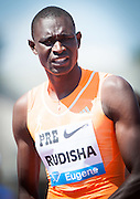 David Rudisha of Kenya had high hopes of a win in the Men's 800m as he returned to competition after a year long hiatus due to a bone bruise. Rudisha finished seventh with a time of 1:44.87.                The Prefontaine Classic, the longest-running international invitational meet in the United States, turns 40 this year.<br /> The 2014 elite competition held in Eugene, Oregon at the University of Oregon's historic Hayward Field is in it's 5th year hosting the IAAF's Diamond League event.