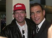 Nick Bateman and Vinnie Jones. Snatch Premiere. Odeon Leicester Sq. London. 23 Augusty 2000. <br />© Copyright Photograph by Dafydd Jones 66 Stockwell Park Rd. London SW9 0DA Tel 020 7733 0108 www.dafjones.com