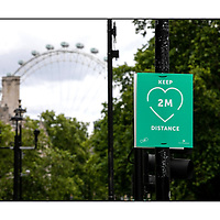 Keep 2M Distance poster;<br /> Westminster;<br /> Empty London in Lockdown;<br /> 7th July 2020.<br /> <br /> © Pete Jones<br /> pete@pjproductions.co.uk