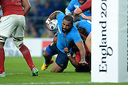 Samuela Vunisa of Italy attempts to score a try. Rugby World Cup 2015 pool D match, France v Italy at Twickenham Stadium in London on Saturday 19th September 2015.<br /> pic by John Patrick Fletcher, Andrew Orchard sports photography.