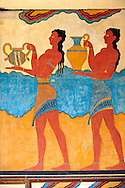 Arthur Evans reconstruction of Procession  Frescos at Knossos Minoan archaeological site, Crete ..<br /> <br /> Visit our GREEK HISTORIC PLACES PHOTO COLLECTIONS for more photos to download or buy as wall art prints https://funkystock.photoshelter.com/gallery-collection/Pictures-Images-of-Greece-Photos-of-Greek-Historic-Landmark-Sites/C0000w6e8OkknEb8 <br /> .<br /> Visit our MINOAN ART PHOTO COLLECTIONS for more photos to download  as wall art prints https://funkystock.photoshelter.com/gallery-collection/Ancient-Minoans-Art-Artefacts-Antiquities-Historic-Places-Pictures-Images-of/C0000ricT2SU_M9w