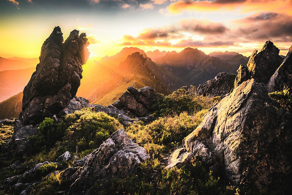 Sunset at West Portal and view towards Western Arthur's Range, Southwest Tasmania.