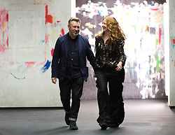 Justin Thornton and Thea Bregazzi greet the audience after presenting their Preen Autumn/Winter 2017 London Fashion Week show at QEII Centre, London. PRESS ASSOCIATION. Picture date: Sunday February 19, 2017. Photo credit should read: Isabel Infantes/PA Wire