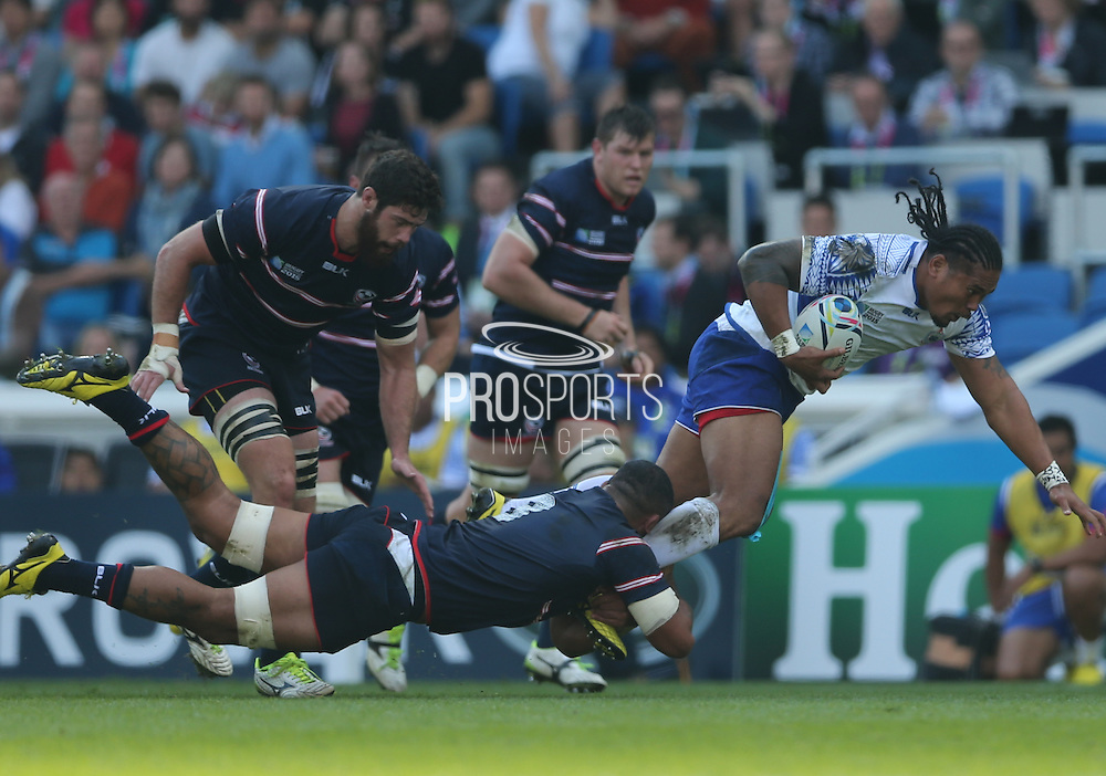 Samoa Ofisa Treviranus (captain) in mid air during the Rugby World Cup 2015 match between Samoa and USA at the Brighton Community Stadium, Falmer, United Kingdom on 20 September 2015.