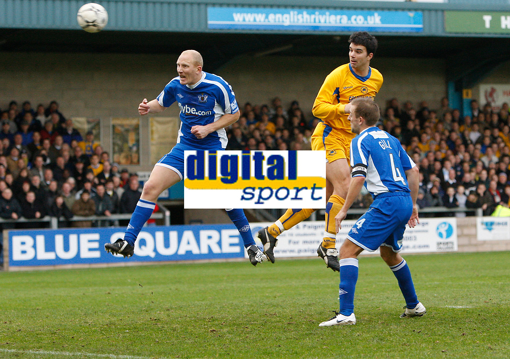 Photo: Steve Bond/Sportsbeat Images.<br />Torquay United v Exeter City. The FA Blue Square Premier. 01/01/2008. Tim Sill (centre player) rises to head home the only goal of the game